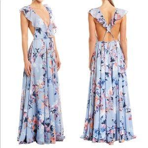 Yumi Kim Botanical Floral Wrap Maxi Dress Gown